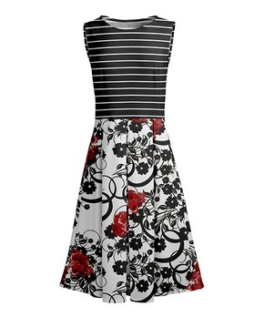 Lily | Red & Black Floral Stripe Fit & Flare Dress – Women & Plus