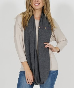 42POPS | Charcoal Transforming Snap-Button Shawl Scarf – Women