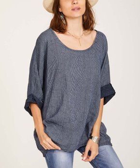 e9666810a8d Ornella Paris | Navy Tab-Sleeve Linen Scoop Neck Tunic - Women & Plus