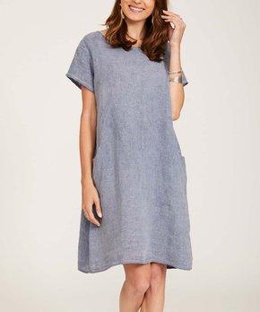 adb8194e51dc Ornella Paris | Navy Linen Side-Pocket Shift Dress - Women & Plus