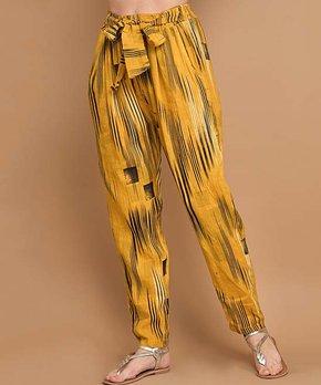 cfd2e9ee6986 La Fille du Couturier   Yellow Abstract Tie-Waist Linen Pants - Women