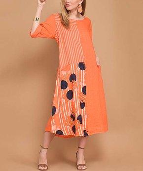 c57903596cd1 La Fille du Couturier   Orange & Navy Polka Dot Linen Shift Dress - W…