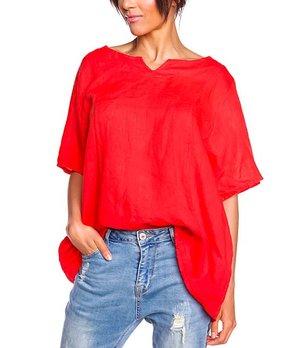 2459e32599f 100% LIN   Red Notch Neck Anthea Linen Tunic - Women