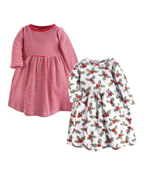 c879df74bb05 Hudson Baby | Red Stripe & Holly A-Line Dress Set - Newborn, Toddler …