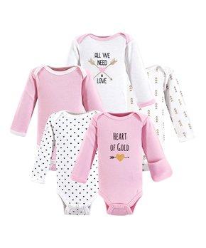 cbb77e4d0 Hudson Baby   White & Gray Hearts Long-Sleeve Bodysuits Set - Newborn
