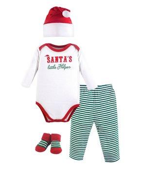 a041af793 Little Treasure | Red & Green 'Santa's Helper' Bodysuit Set - Infant