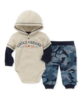 ce936eaec White 'Lucky Brand Live Free 1990' Bodysuit & Blue Camo Joggers - New…