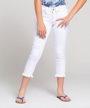 bdc25065 YMI Jeans | White Frayed-Trim Capri Jeans - Girls