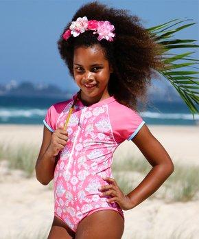 ec9ef81913 Sun Emporium | Coral Pink Floral Short-Sleeve Zip-Front One-Piece Ras…