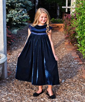 605d09c694fb Just Couture | Navy Blue Velvet Magnolia Shift Dress - Toddler