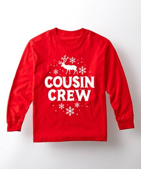 b4ef01373 Instant Message | Red 'Cousin Crew' Long-Sleeve Tee - Kids