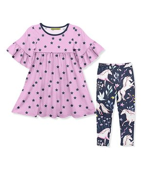 f52bc474d51bf Millie Loves Lily | Pink & Navy Star Ruffle-Sleeve A-Line Dress & Nav…