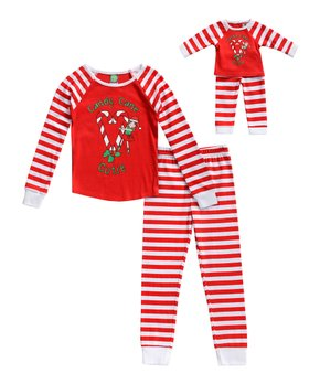 c0964e6175d84 Dollie & Me | Red & White 'Candy Cane Cutie' Pajama & Doll Outfit Set…