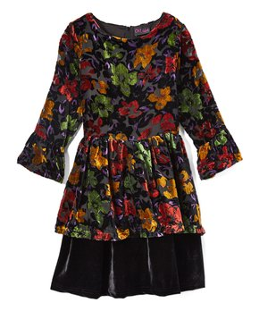 e370f515de7 Black   Red Floral Velour Ruffle-Hem A-Line Dress - Girls