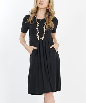 8cf1b28ba6a5c Lydiane | Black Pleated Short-Sleeve Two-Pocket Tunic Dress - Women &…