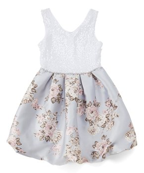 9eaa2508c96a Love, Jayne | Baby Blue & White Sequin Fit & Flare Dress - Girls