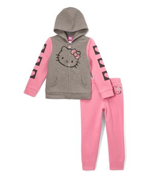 edbca1015 Hello Kitty Pink & Gray Fleece Zip-Up Hoodie & Joggers - Toddler & Gi…