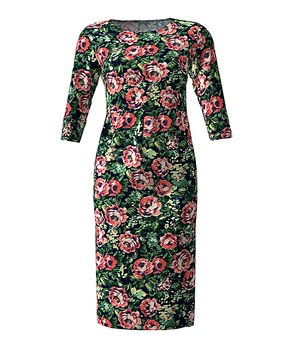 e227197a VKY & CO | Green & Pink Floral Midi Sheath Dress - Women & Plus