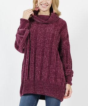 Teal Oversize Cable-Knit Velvet Yarn Turtleneck Sweater - Women. all gone a558ef3c6