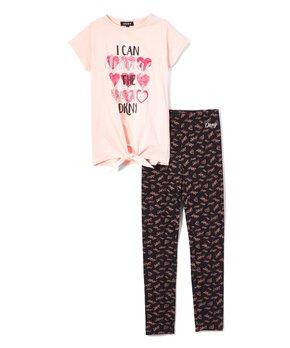 9acf56572 DKNY   English Rose 'Change The World' Front-Knot Tee & Sweatpants Se…