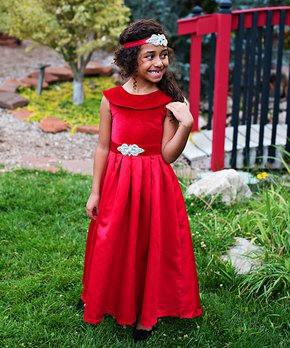 4b7ceddac786 Just Couture | Red Amelia Satin-Velvet Blend Gown & Sash - Toddler & … shop  now. Just Couture | Emerald Green ...