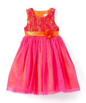 c9cdaae8 Nannette Girl | Pink & Orange Soutache A-Line Dress - Toddler & Girls