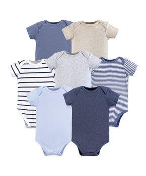 b7be87bc0 Hudson Baby | Blue & White Cotton Bodysuit Set - Newborn & Infant