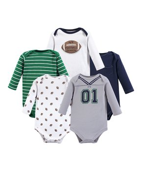 38896d0db5d7 Green & Gray Football Long-Sleeve Bodysuit Set - Infant