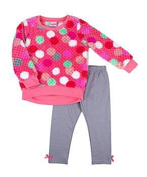 95edaa3faf699d Nannette Kids | Coral Dot Fleece Top & Gray Bow-Accent Leggings - Inf…
