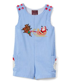 41e8e2bbaf7ce6 Blue Santa Sleigh Pocket Shortalls - Infant