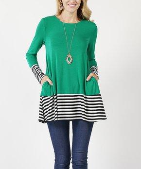 6b1655af672 42POPS | Kelly Green Stripe Color Block Side-Pocket Tunic - Women
