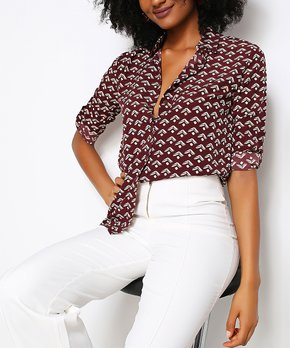 b6405c75 only 1 left · Misell | Brown Geometric Button-Up - Women