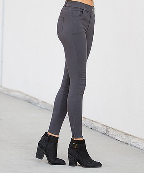 eb02ff3175f48 Amaryllis | Charcoal Frayed Ankle-Zipper Faux-Button Pocket Jeggings …