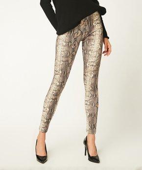 ca3061ffb8 Bloggers Boutique | Beige Snake Print Leggings - Women