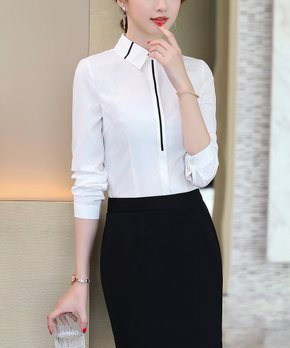 7210b43397b Emma Way   White Contrast-Band Button-Up - Women