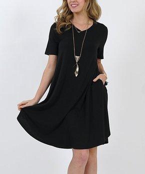 7c545ac21d8 Black V-Neck Short-Sleeve Curved-Hem Pocket Tunic Dress - Women