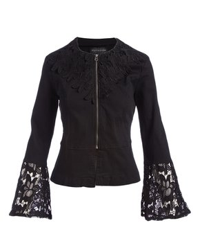f5c6ca9cf Live A Little | Black Lace Bell-Sleeve Jacket - Women