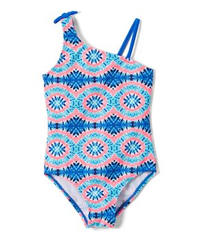 edada37be7fdc Blue   Pink Abstract Spit Fire One-Piece - Girls
