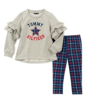 10d00341d Tommy Hilfiger   Gray Ruffle-Sleeve 'Tommy Hilfiger' Tunic & Blue Pla…