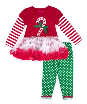 a2f5e85d23d325 Red & White Stripe Candy Cane Layered Tutu Top & Green Leggings - Tod…