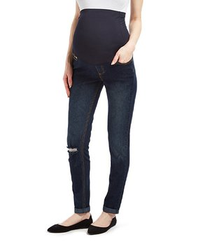31119713f89c2 all gone. Times 2 | Dark Wash Over-Belly Distressed Maternity Skinny Jeans