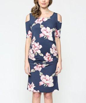 d6edbe8fa4273 Hello Miz Maternity | Navy Floral Cold Shoulder Maternity Dress - Wom…