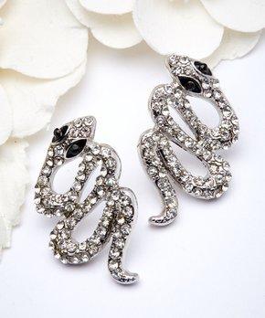Amrita Singh Black Austrian Crystal Silvertone Snake Stud Earrings