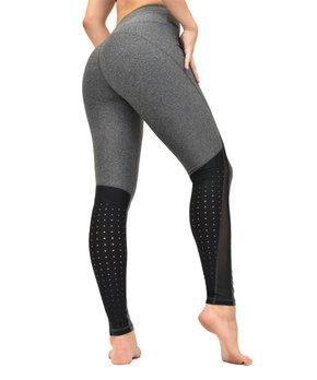 2fb8043dee5f2 Central Park Active   Heather Gray & Black Perforated Leggings - Women