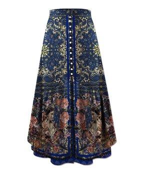 c9097233e4 UDEAR | Blue Floral Button-Accent Front-Slit Maxi Skirt - Women