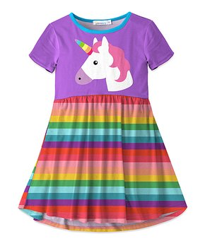 bbabc329af8 Purple   Turquoise Unicorn Stripe Swing Dress - Girls