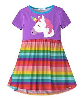 8a1aeb5ea7e4 Purple   Turquoise Unicorn Stripe Swing Dress - Girls