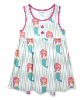 31177ac04bf11 Teal   Pink Mermaids Sleeveless A-Line Dress - Toddler   Girls