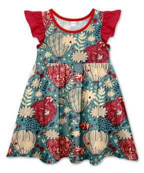035b802befc7c Ocean Floral   Hot Air Balloon Angel-Sleeve Dress - Toddler   Girls
