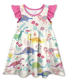 5a2a735a11239 Ecru Floral   Dinosaurs Angel-Sleeve Dress - Toddler   Girls